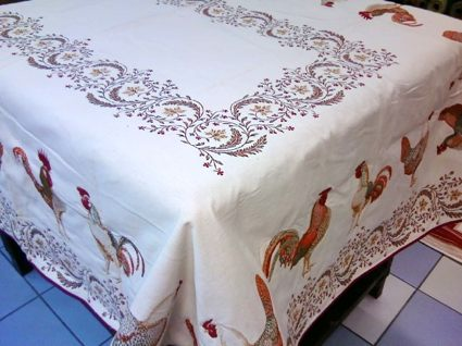 french tablecloth with rooster design