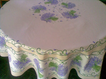 70in round cloth with lavender design