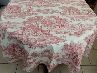toile de jouy red on ecru large round tablecloth