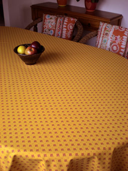 yellow coated tablecloth