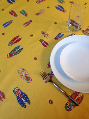 provencal coated tablecloth with cicadas designs