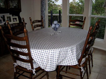 large oval provencal blue and white tablecloth