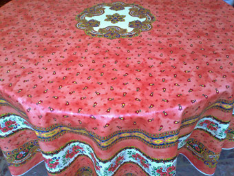red round Provencal tablecloth