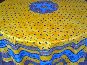 yellow coated or cotton 70in round cloth