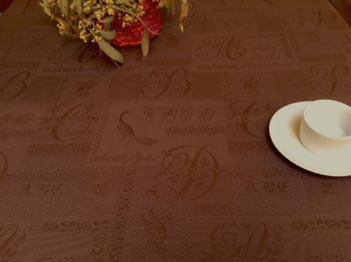 Thick woven Jacquard French tablecloth with embroidered initials designs