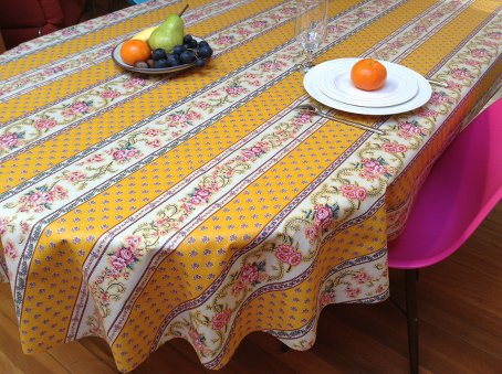 yellow provencal tablecloth with acrylic coating