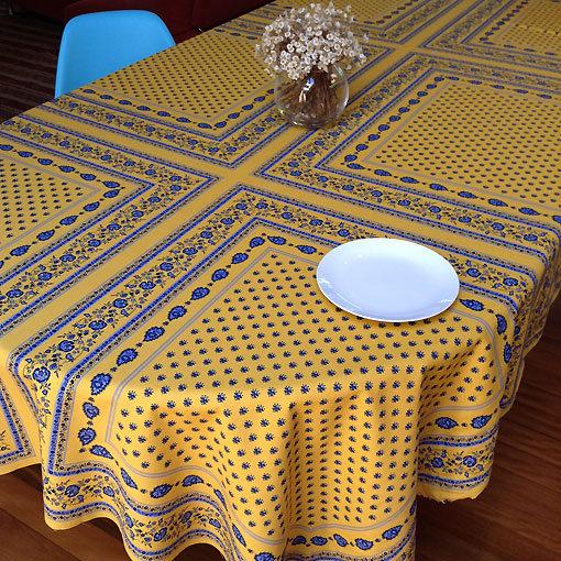 french provincial blue and yellow tablecloth