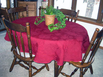 french quilted red oval tablecloth