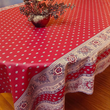 provencal oilcloth with acrylic treatment for easy maintenance in bordeaux tones