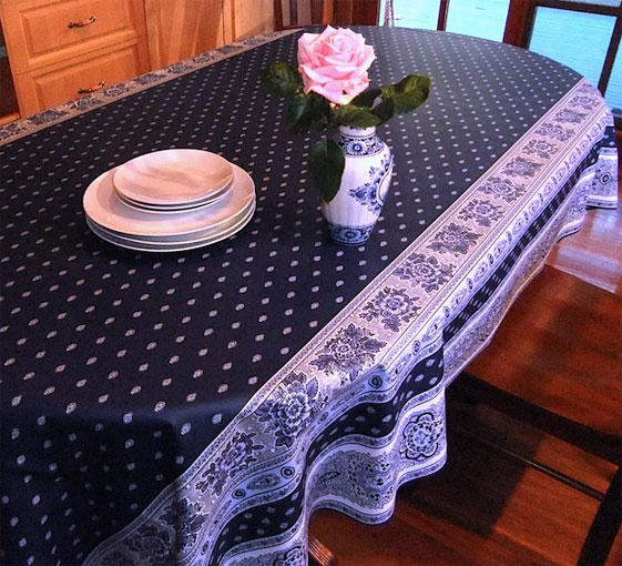 blue and white french provincial oilcloth