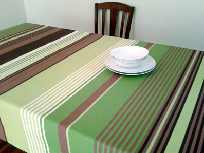 green and brown basque tablecloth