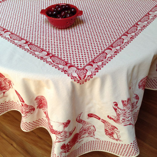 large rectangular reversible frenc tablecloth with chicken designs