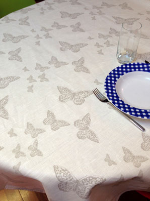 coated linen tablecloth with butterflies designs