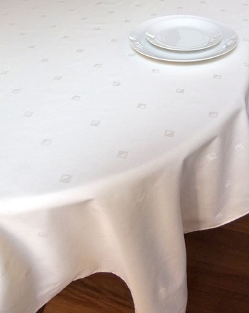 White Damask French tablecloth.