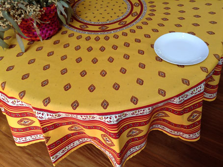 90in round provincial design cotton tablecloth