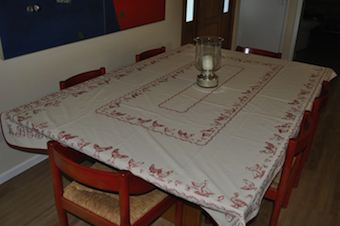 chicken and duck reversible tablecloth