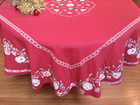 french christmas tablecloth with baubles