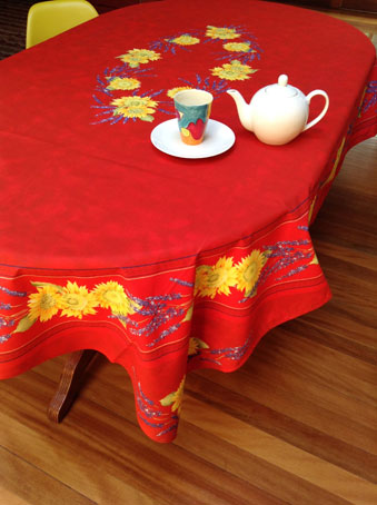 Rectangular french provincial cotton tablecloth for oval or rectangular tables