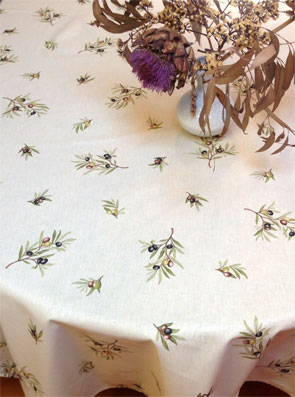 Provencal oilcloth with olives designs