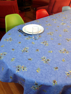 provencal coated table cloth with olives designs