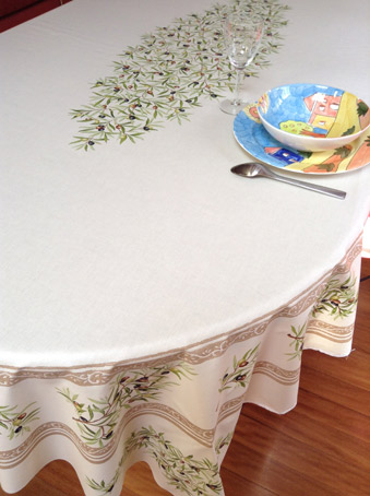 provencal french tablecloth with plastic coating for easy maintenance
