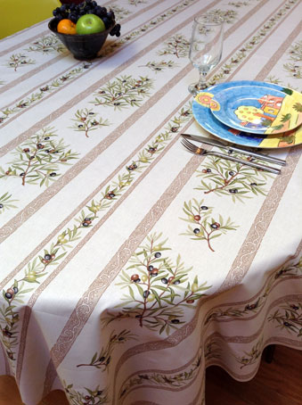 provencal coated tablecloth with olive designs