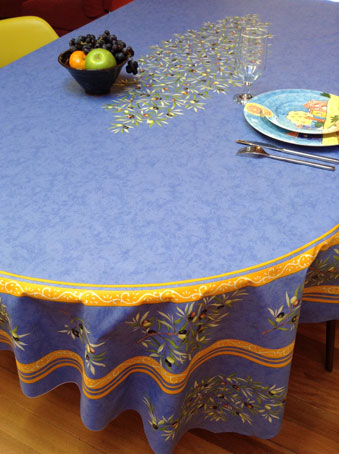 8 seater oval tablecloth with olive design and teflon coatinge
