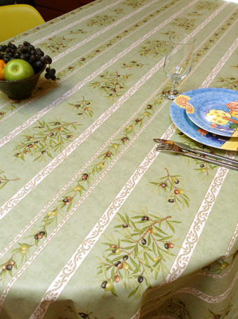 plastic coated tablecloth from provence with olives designs