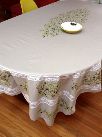 oval coated tablecloth with olive design from Provence