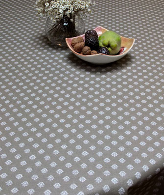 Taupe colour treated tablecloth