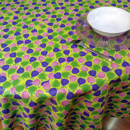 retro french coated tablecloth with fig designs