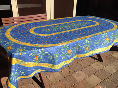 8 seater Corrine blue cotton provencal tablecloth