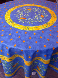 blue and yellow large round provence tablecloth with olives and cicadas
