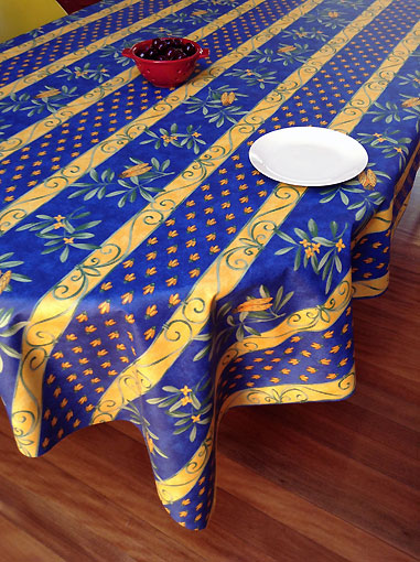 cicada and olives design french vinyl wipe-over tablecloth blue and yellow