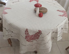 woven tablecloth with hens