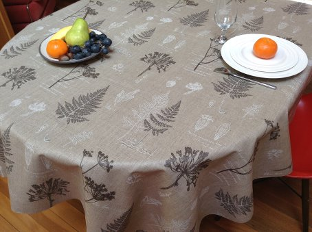 acrylic coated linen tablecloths with fern designs