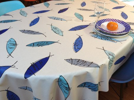 coated french tablecloth with blue fish designs