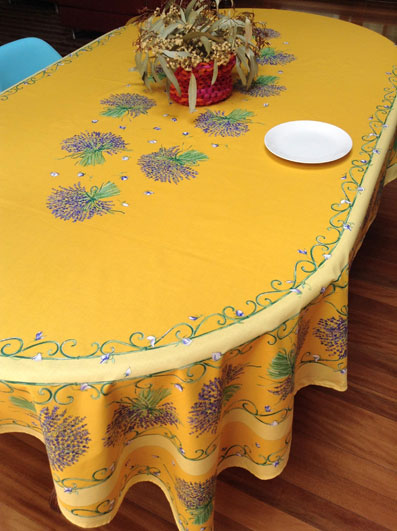 oval coated tablecloth with lavender design
