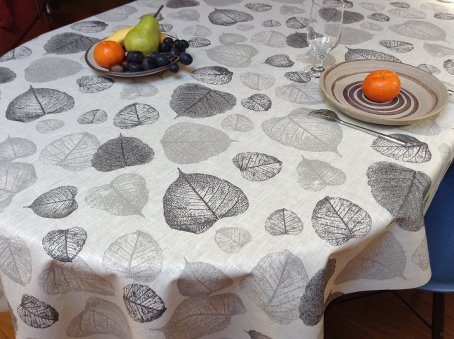 acrylic coated natural linen tablecloth with leaves designs