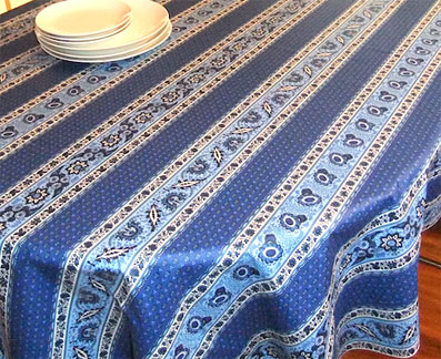 french provincial oilcloth with blue and white designs