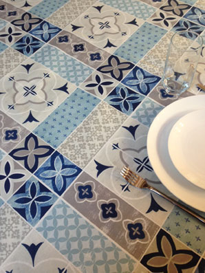 provencal tablecloth with blue and white tiles design