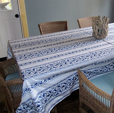 Blue and white provencal vinyl tablecloth.