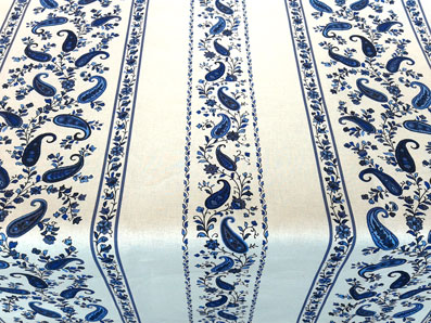 blue and white tablecloth fabric