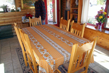 yellow tablecloth with provencal designs