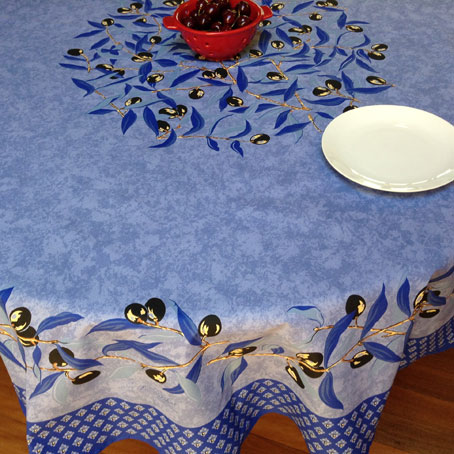 French provencal large round tablecloth with olives design