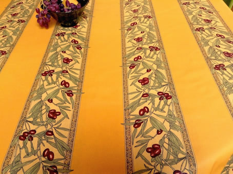 gold yellow french coated tablecloth with olives designs