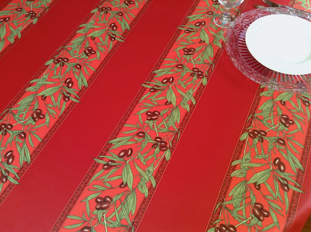 French coated tablecloth with red olives designs