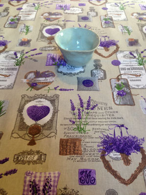 lavender and hearts design oilcloth from Provence