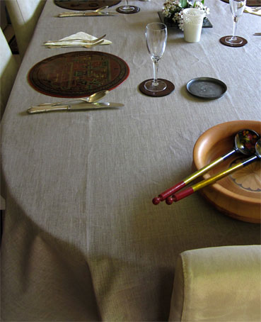 Plain French linen tablecloth