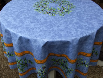 blue coated round cloth